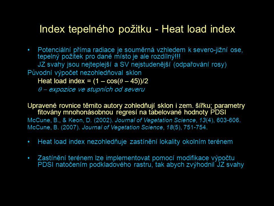 Index tepelného požitku - Heat load index Potenciální příma radiace je souměrná vzhledem k severo-jižní ose, tepelný požitek pro dané místo je ale roz