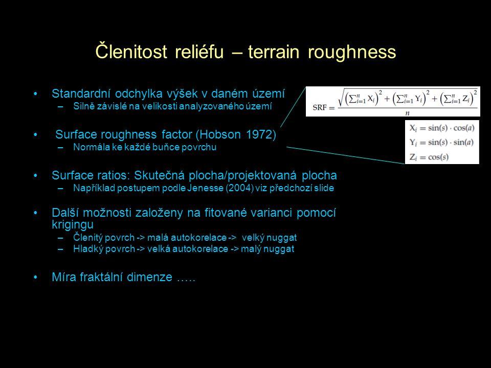 Členitost reliéfu – terrain roughness Standardní odchylka výšek v daném území –Silně závislé na velikosti analyzovaného území Surface roughness factor