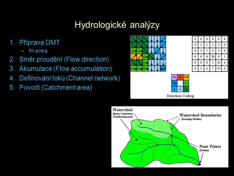 Hydrologické analýzy 1.Příprava DMT –fill sinks 2.Směr proudění (Flow direction) 3.Akumulace (Flow accumulation) 4.Definování toků (Channel network) 5
