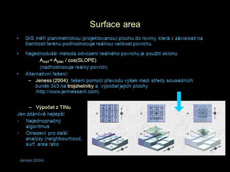 Jeness (2004) Surface area GIS měří planimetrickou (projektovanou) plochu do roviny, která v závislosti na členitosti terénu podhodnocuje reálnou veli