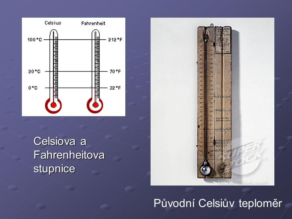 Celsiova a Fahrenheitova stupnice Původní Celsiův teploměr