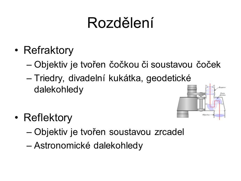 Rozdělení Refraktory –Objektiv je tvořen čočkou či soustavou čoček –Triedry, divadelní kukátka, geodetické dalekohledy Reflektory –Objektiv je tvořen soustavou zrcadel –Astronomické dalekohledy
