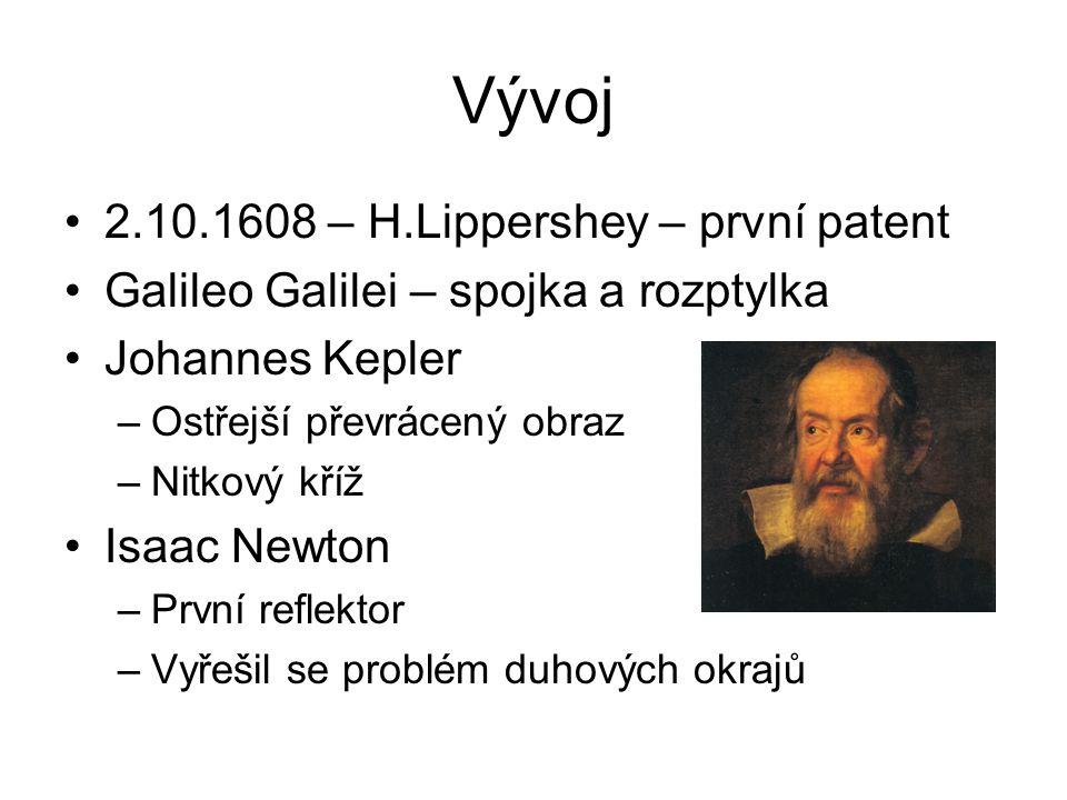 Vývoj 2.10.1608 – H.Lippershey – první patent Galileo Galilei – spojka a rozptylka Johannes Kepler –Ostřejší převrácený obraz –Nitkový kříž Isaac Newton –První reflektor –Vyřešil se problém duhových okrajů