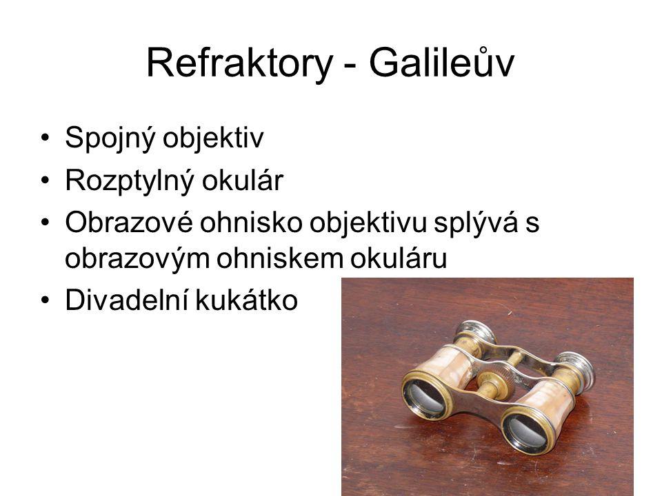Refraktory - Galileův Spojný objektiv Rozptylný okulár Obrazové ohnisko objektivu splývá s obrazovým ohniskem okuláru Divadelní kukátko