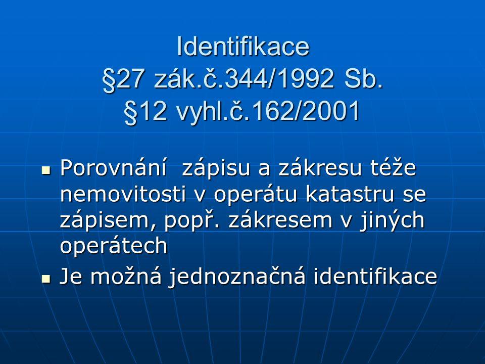 Identifikace §27 zák.č.344/1992 Sb. §12 vyhl.č.162/2001 Porovnání zápisu a zákresu téže nemovitosti v operátu katastru se zápisem, popř. zákresem v ji