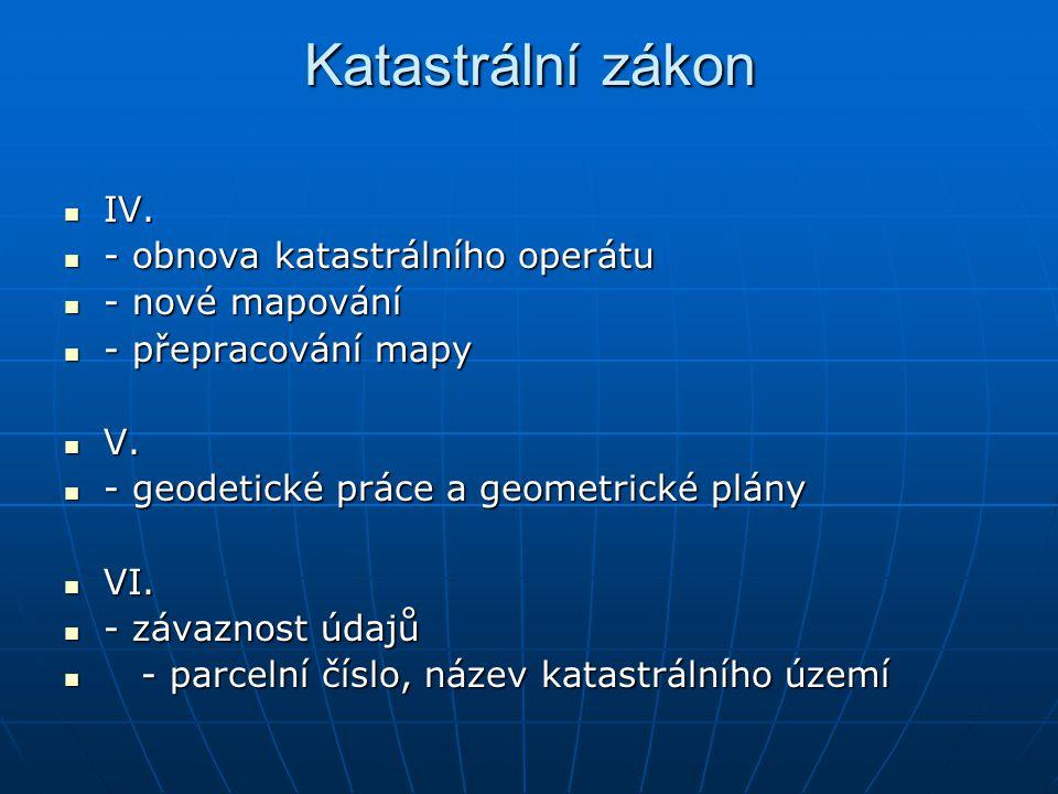 Katastrální zákon IV. IV. - obnova katastrálního operátu - obnova katastrálního operátu - nové mapování - nové mapování - přepracování mapy - přepraco