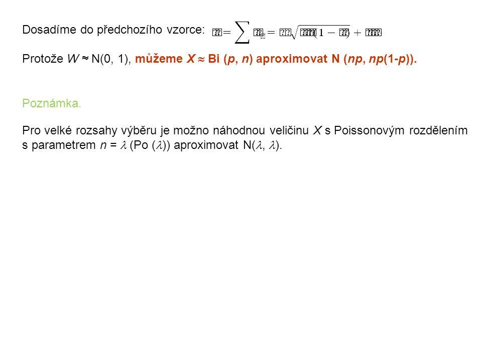 Dosadíme do předchozího vzorce:. Protože W  N(0, 1), můžeme X  Bi (p, n) aproximovat N (np, np(1-p)). Poznámka. Pro velké rozsahy výběru je možno ná
