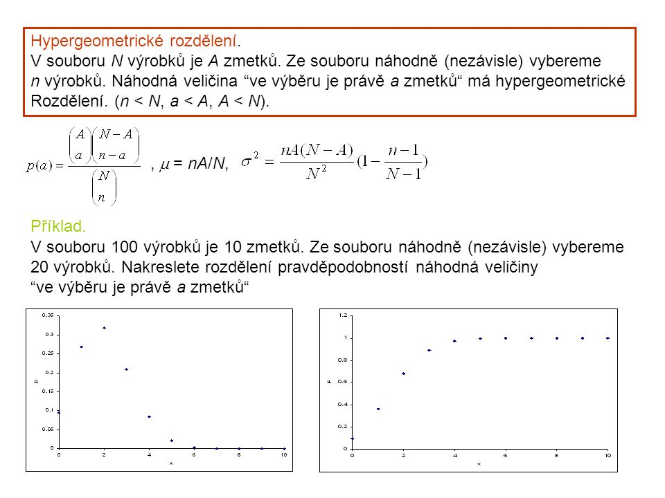 """Hypergeometrické rozdělení. V souboru N výrobků je A zmetků. Ze souboru náhodně (nezávisle) vybereme n výrobků. Náhodná veličina """"ve výběru je právě a"""