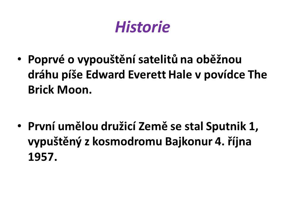 Historie Poprvé o vypouštění satelitů na oběžnou dráhu píše Edward Everett Hale v povídce The Brick Moon.