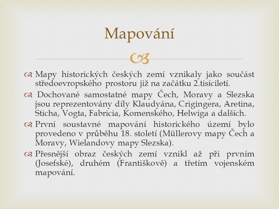   Mapy historických českých zemí vznikaly jako součást středoevropského prostoru již na začátku 2.tisíciletí.