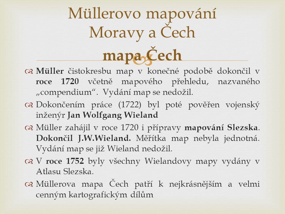 """  Müller čistokresbu map v konečné podobě dokončil v roce 1720 včetně mapového přehledu, nazvaného """"compendium ."""