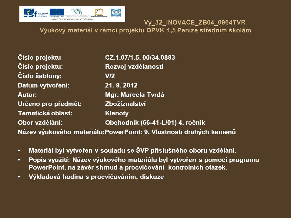 Vy_32_INOVACE_ZB04_0964TVR Výukový materiál v rámci projektu OPVK 1,5 Peníze středním školám Číslo projektuCZ.1.07/1.5.