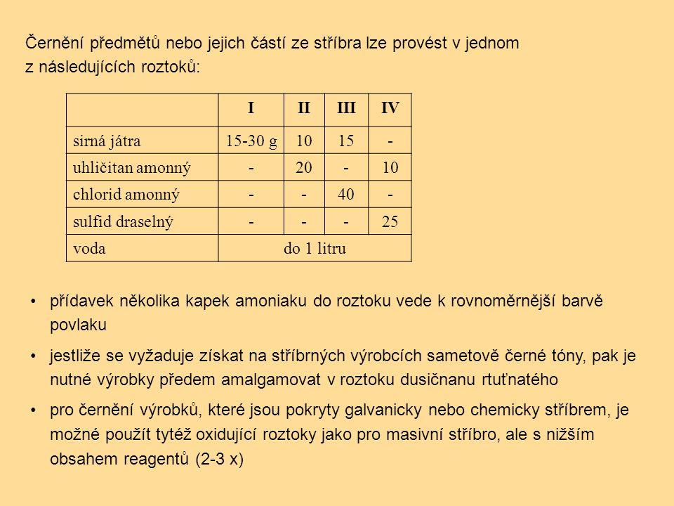 IIIIIIIV sirná játra15-30 g1015- uhličitan amonný-20-10 chlorid amonný--40- sulfid draselný---25 vodado 1 litru přídavek několika kapek amoniaku do roztoku vede k rovnoměrnější barvě povlaku jestliže se vyžaduje získat na stříbrných výrobcích sametově černé tóny, pak je nutné výrobky předem amalgamovat v roztoku dusičnanu rtuťnatého pro černění výrobků, které jsou pokryty galvanicky nebo chemicky stříbrem, je možné použít tytéž oxidující roztoky jako pro masivní stříbro, ale s nižším obsahem reagentů (2-3 x) Černění předmětů nebo jejich částí ze stříbra lze provést v jednom z následujících roztoků: