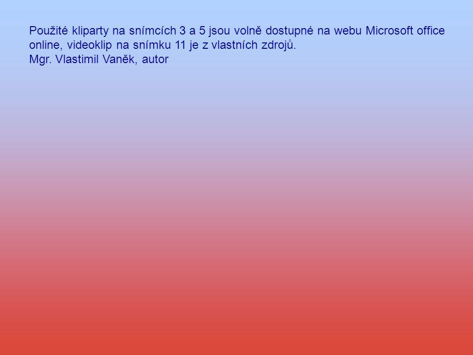 Použité kliparty na snímcích 3 a 5 jsou volně dostupné na webu Microsoft office online, videoklip na snímku 11 je z vlastních zdrojů. Mgr. Vlastimil V