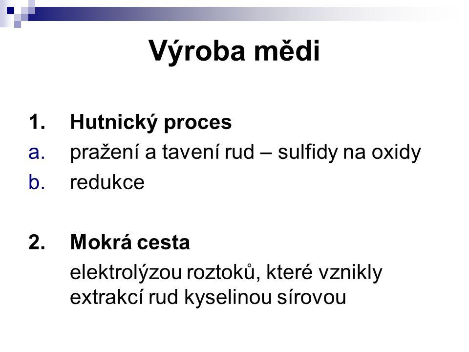 Výroba mědi 1.Hutnický proces a.pražení a tavení rud – sulfidy na oxidy b.redukce 2.Mokrá cesta elektrolýzou roztoků, které vznikly extrakcí rud kysel