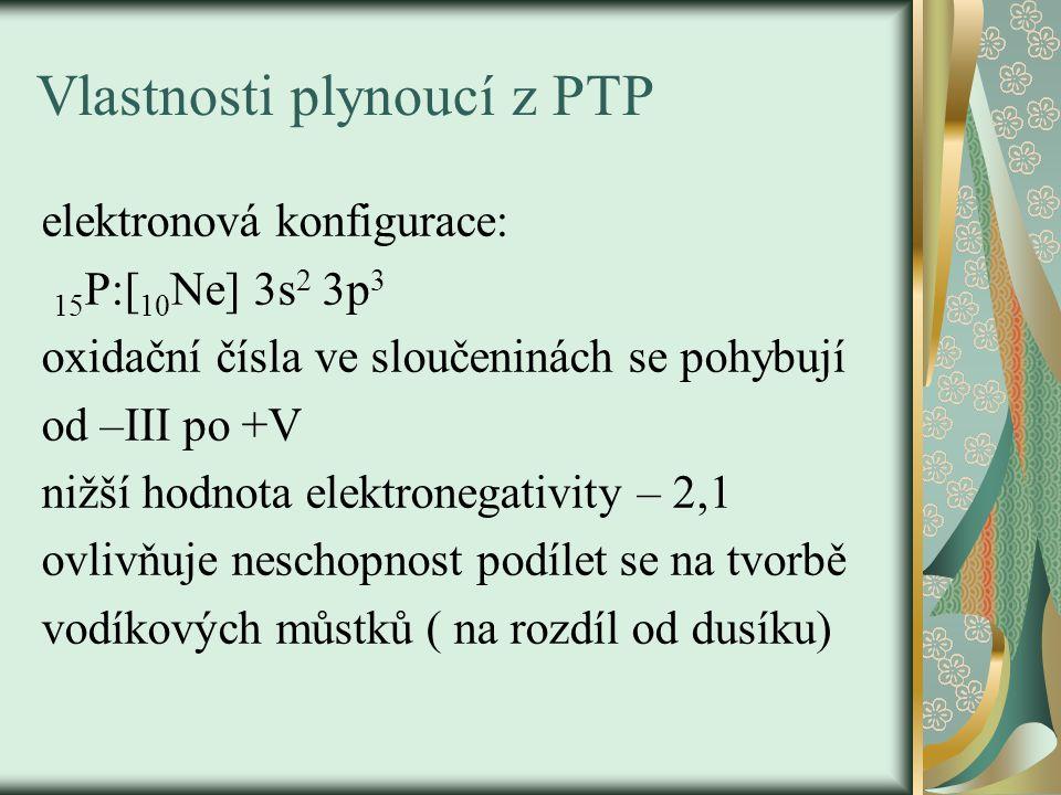 Vlastnosti plynoucí z PTP elektronová konfigurace: 15 P:[ 10 Ne] 3s 2 3p 3 oxidační čísla ve sloučeninách se pohybují od –III po +V nižší hodnota elektronegativity – 2,1 ovlivňuje neschopnost podílet se na tvorbě vodíkových můstků ( na rozdíl od dusíku)