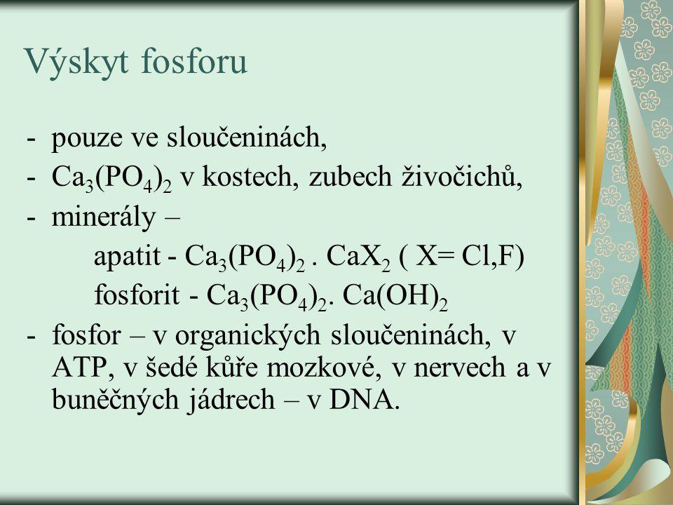 Výskyt fosforu -pouze ve sloučeninách, -Ca 3 (PO 4 ) 2 v kostech, zubech živočichů, -minerály – apatit - Ca 3 (PO 4 ) 2.