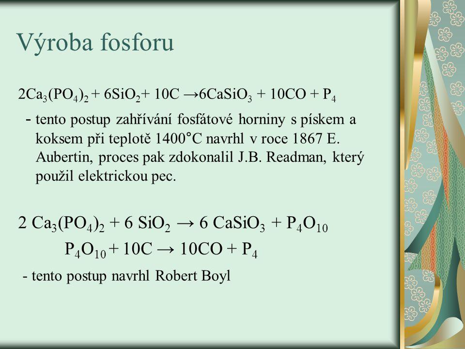 Výroba fosforu 2Ca 3 (PO 4 ) 2 + 6SiO 2 + 10C →6CaSiO 3 + 10CO + P 4 - tento postup zahřívání fosfátové horniny s pískem a koksem při teplotě 1400°C navrhl v roce 1867 E.