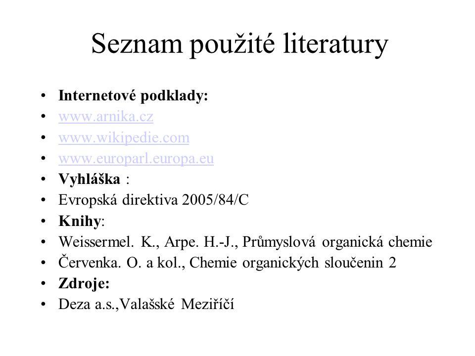 Seznam použité literatury Internetové podklady: www.arnika.cz www.wikipedie.com www.europarl.europa.eu Vyhláška : Evropská direktiva 2005/84/C Knihy: