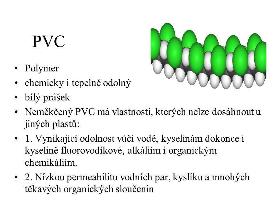 PVC Polymer chemicky i tepelně odolný bílý prášek Neměkčený PVC má vlastnosti, kterých nelze dosáhnout u jiných plastů: 1. Vynikající odolnost vůči vo