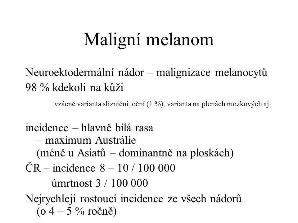 Maligní melanom Neuroektodermální nádor – malignizace melanocytů 98 % kdekoli na kůži vzácně varianta slizniční, oční (1 %), varianta na plenách mozko