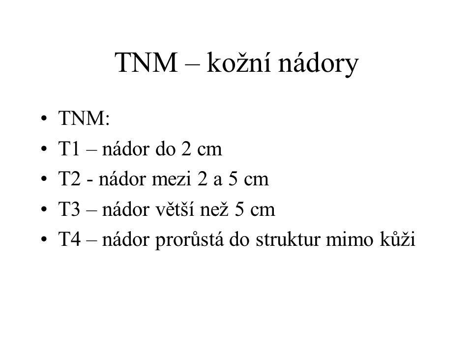 TNM – kožní nádory TNM: T1 – nádor do 2 cm T2 - nádor mezi 2 a 5 cm T3 – nádor větší než 5 cm T4 – nádor prorůstá do struktur mimo kůži