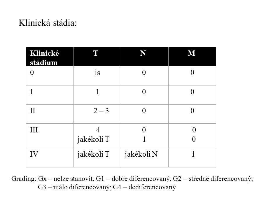 Klinické stádium T N M 0 is 0 0 I 1 0 0 II 2 – 3 0 0 III 4 jakékoli T 0 1 0 IVjakékoli Tjakékoli N 1 Grading: Gx – nelze stanovit; G1 – dobře diferenc