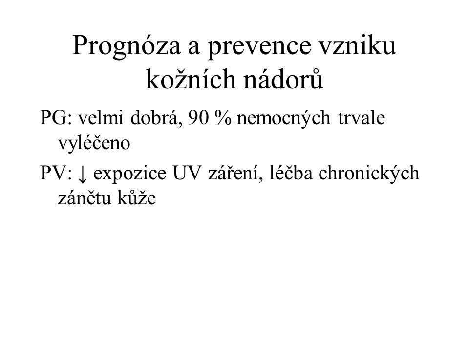Prognóza a prevence vzniku kožních nádorů PG: velmi dobrá, 90 % nemocných trvale vyléčeno PV: ↓ expozice UV záření, léčba chronických zánětu kůže