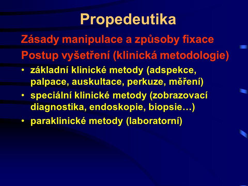 Propedeutika Zásady manipulace a způsoby fixace Postup vyšetření (klinická metodologie) základní klinické metody (adspekce, palpace, auskultace, perku