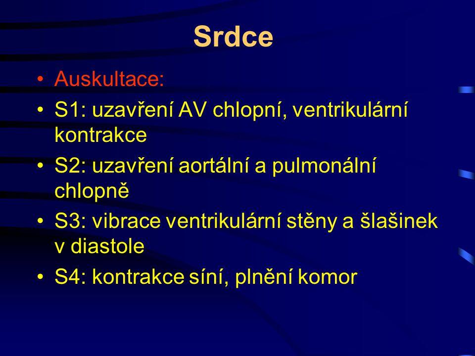 Srdce Auskultace: S1: uzavření AV chlopní, ventrikulární kontrakce S2: uzavření aortální a pulmonální chlopně S3: vibrace ventrikulární stěny a šlašin