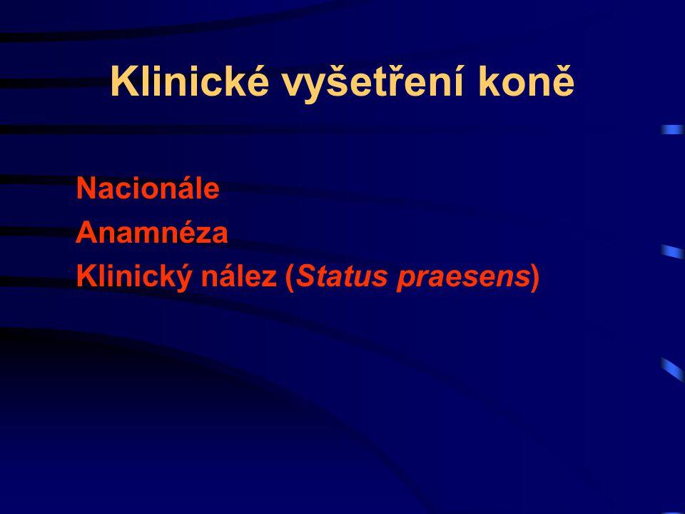 Klinické vyšetření koně Nacionále Anamnéza Klinický nález (Status praesens)