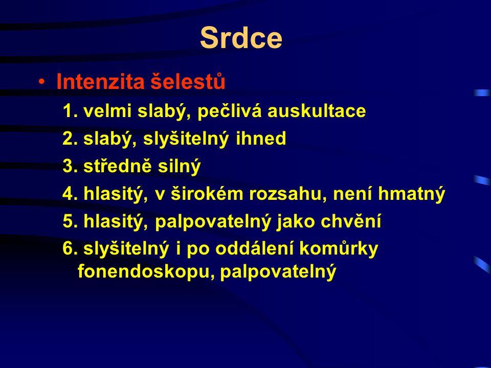 Srdce Intenzita šelestů 1. velmi slabý, pečlivá auskultace 2. slabý, slyšitelný ihned 3. středně silný 4. hlasitý, v širokém rozsahu, není hmatný 5. h