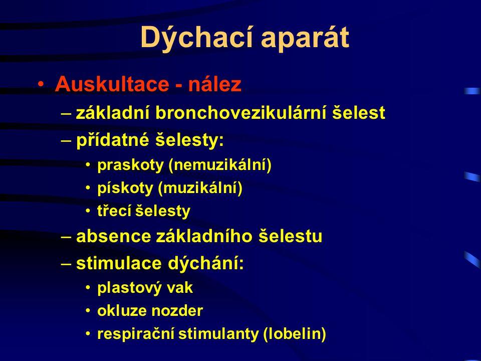 Dýchací aparát Auskultace - nález –základní bronchovezikulární šelest –přídatné šelesty: praskoty (nemuzikální) pískoty (muzikální) třecí šelesty –abs
