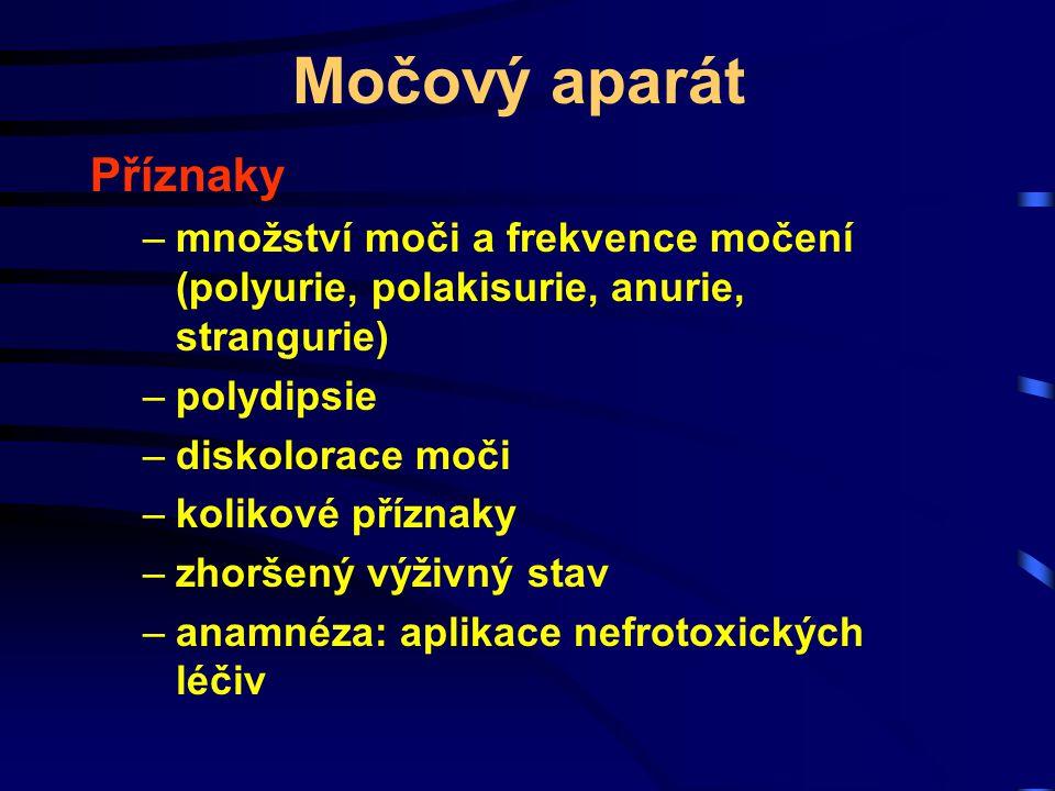 Močový aparát Příznaky –množství moči a frekvence močení (polyurie, polakisurie, anurie, strangurie) –polydipsie –diskolorace moči –kolikové příznaky