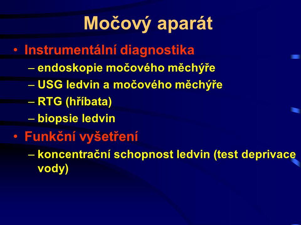 Močový aparát Instrumentální diagnostika –endoskopie močového měchýře –USG ledvin a močového měchýře –RTG (hříbata) –biopsie ledvin Funkční vyšetření