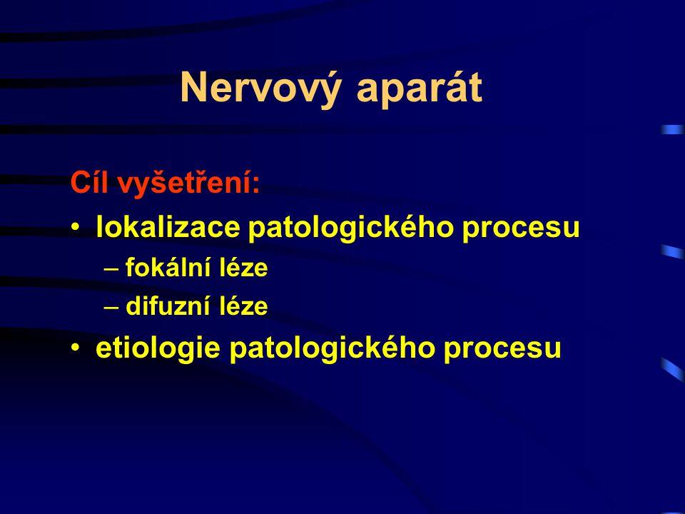 Nervový aparát Cíl vyšetření: lokalizace patologického procesu –fokální léze –difuzní léze etiologie patologického procesu