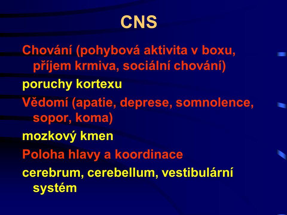 CNS Chování (pohybová aktivita v boxu, příjem krmiva, sociální chování) poruchy kortexu Vědomí (apatie, deprese, somnolence, sopor, koma) mozkový kmen