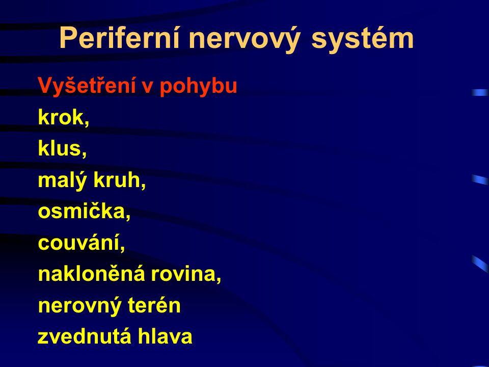 Periferní nervový systém Vyšetření v pohybu krok, klus, malý kruh, osmička, couvání, nakloněná rovina, nerovný terén zvednutá hlava