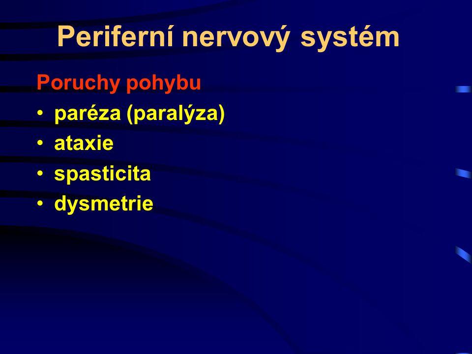 Periferní nervový systém Poruchy pohybu paréza (paralýza) ataxie spasticita dysmetrie