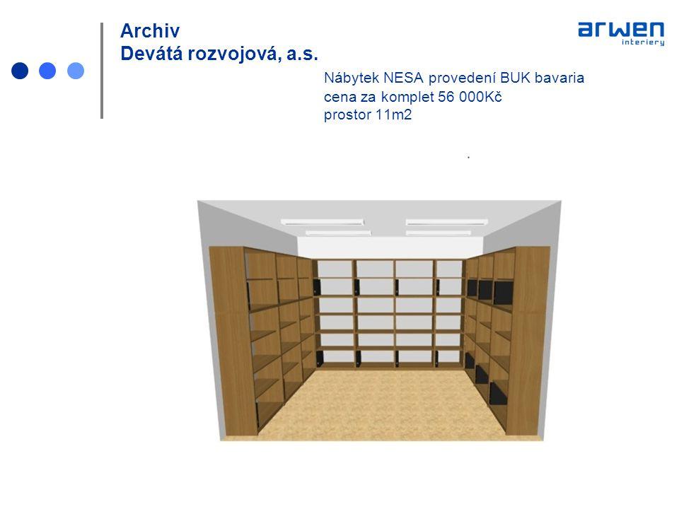 Archiv Devátá rozvojová, a.s. Nábytek NESA provedení BUK bavaria cena za komplet 56 000Kč prostor 11m2