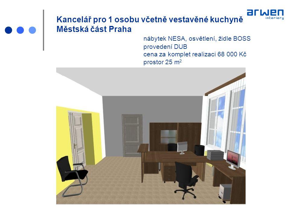 Kancelář pro 1 osobu včetně vestavěné kuchyně Městská část Praha nábytek NESA, osvětlení, židle BOSS provedení DUB cena za komplet realizaci 68 000 Kč