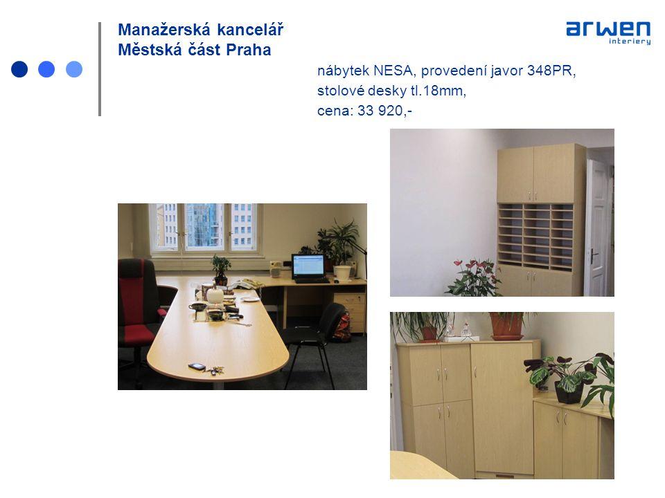 Manažerská kancelář Městská část Praha nábytek NESA, provedení javor 348PR, stolové desky tl.18mm, cena: 33 920,-