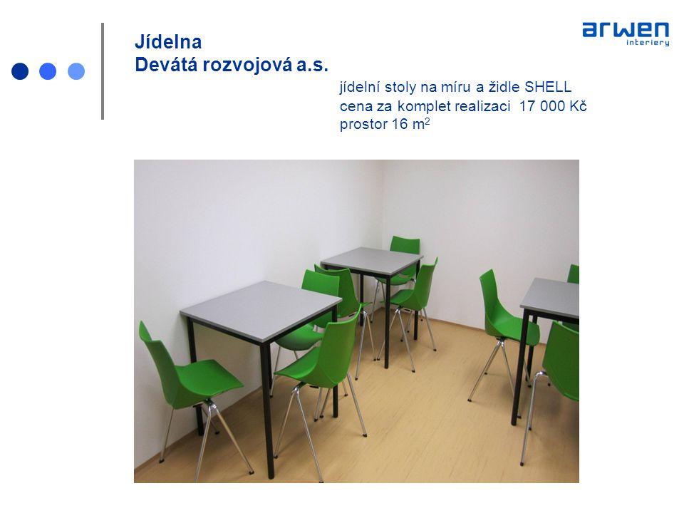 Jídelna Devátá rozvojová a.s. jídelní stoly na míru a židle SHELL cena za komplet realizaci 17 000 Kč prostor 16 m 2