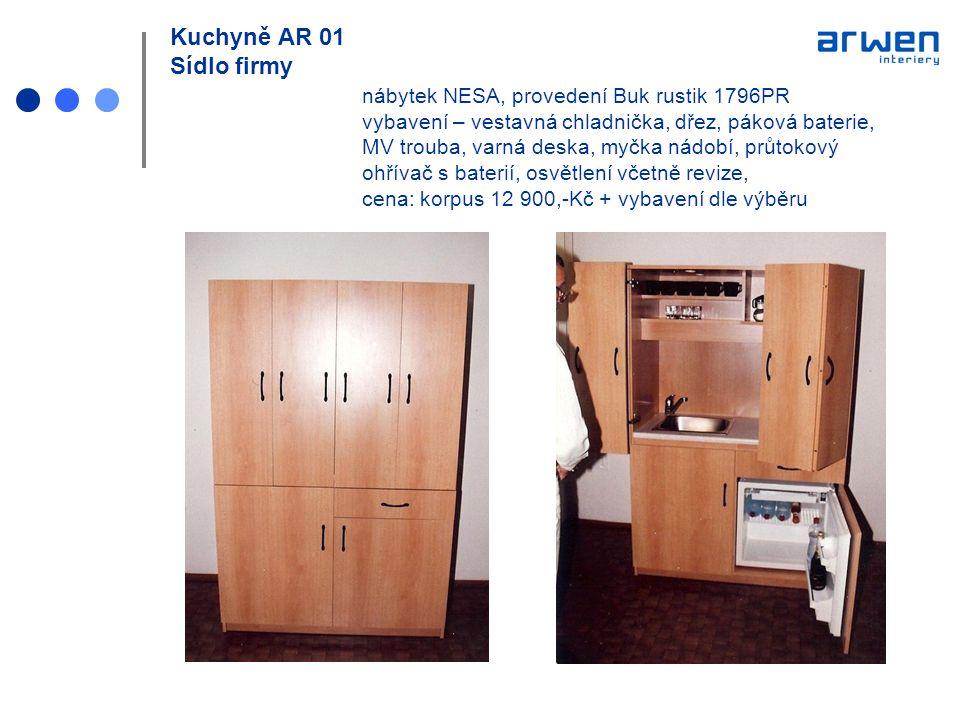 Kuchyně AR 01 Sídlo firmy nábytek NESA, provedení Buk rustik 1796PR vybavení – vestavná chladnička, dřez, páková baterie, MV trouba, varná deska, myčk