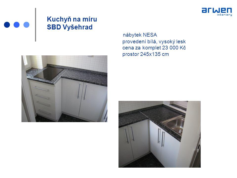 Kuchyň na míru SBD Vyšehrad nábytek NESA provedení bílá, vysoký lesk cena za komplet 23 000 Kč prostor 245x135 cm