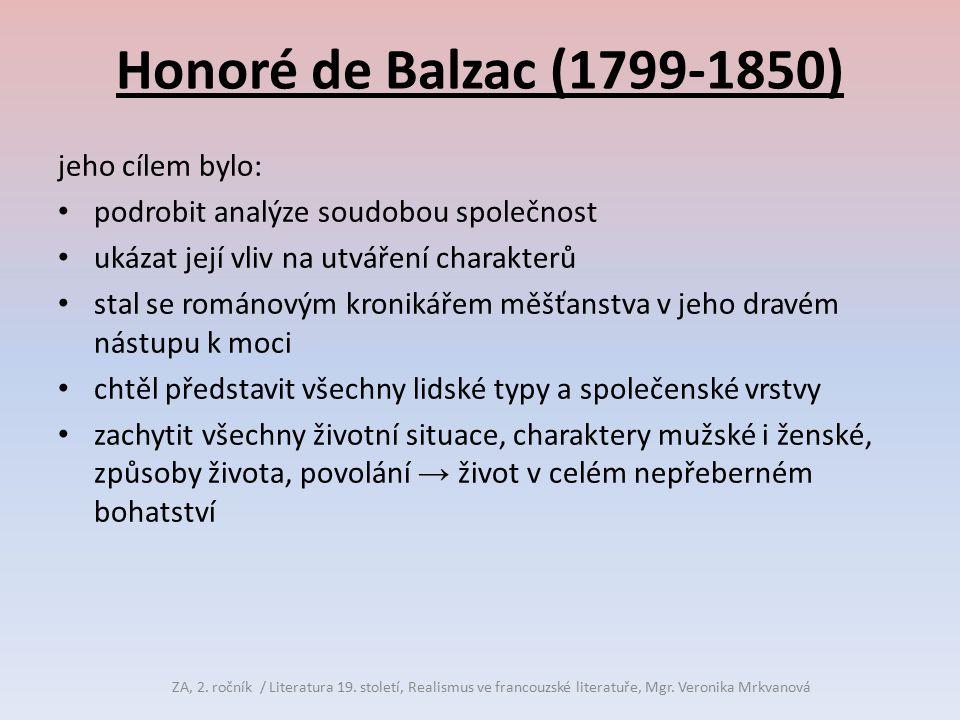 Honoré de Balzac (1799-1850) jeho cílem bylo: podrobit analýze soudobou společnost ukázat její vliv na utváření charakterů stal se románovým kronikáře