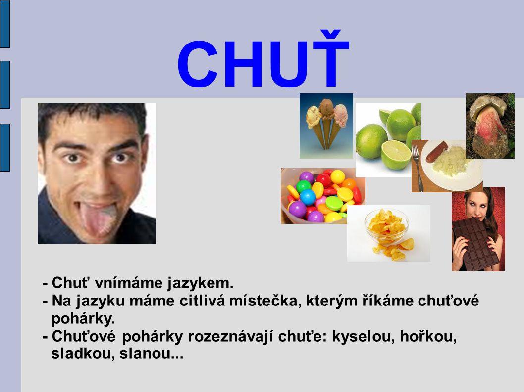 CHUŤ - Chuť vnímáme jazykem. - Na jazyku máme citlivá místečka, kterým říkáme chuťové pohárky. - Chuťové pohárky rozeznávají chuťe: kyselou, hořkou, s