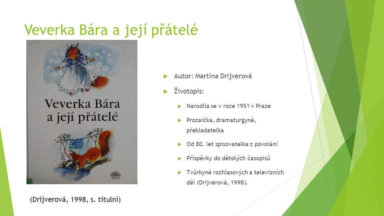 Veverka Bára a její přátelé  Autor: Martina Drijverová  Životopis:  Narodila se v roce 1951 v Praze  Prozaička, dramaturgyně, překladatelka  Od 8