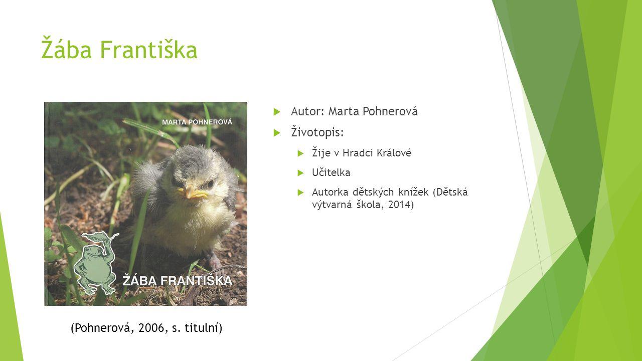 Žába Františka  Autor: Marta Pohnerová  Životopis:  Žije v Hradci Králové  Učitelka  Autorka dětských knížek (Dětská výtvarná škola, 2014) (Pohne