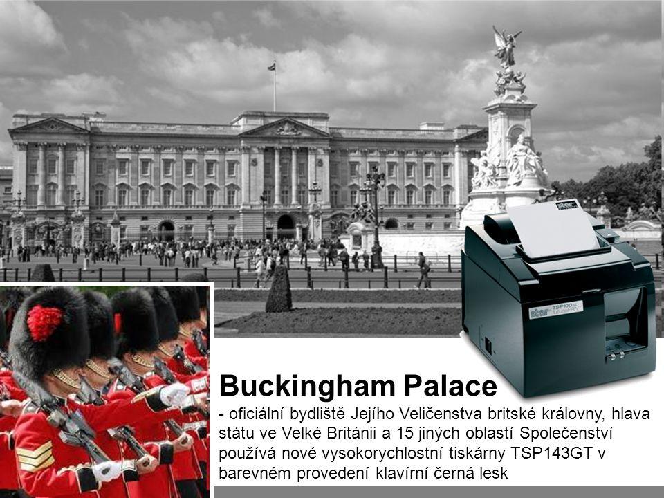 Buckingham Palace - oficiální bydliště Jejího Veličenstva britské královny, hlava státu ve Velké Británii a 15 jiných oblastí Společenství používá nové vysokorychlostní tiskárny TSP143GT v barevném provedení klavírní černá lesk